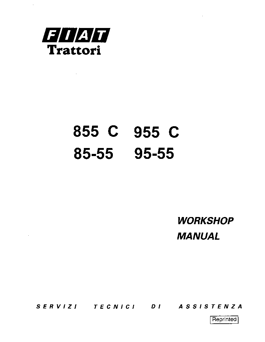 Fiat 855C 955C 85-55 95-55 Tractor Workshop Repair Service