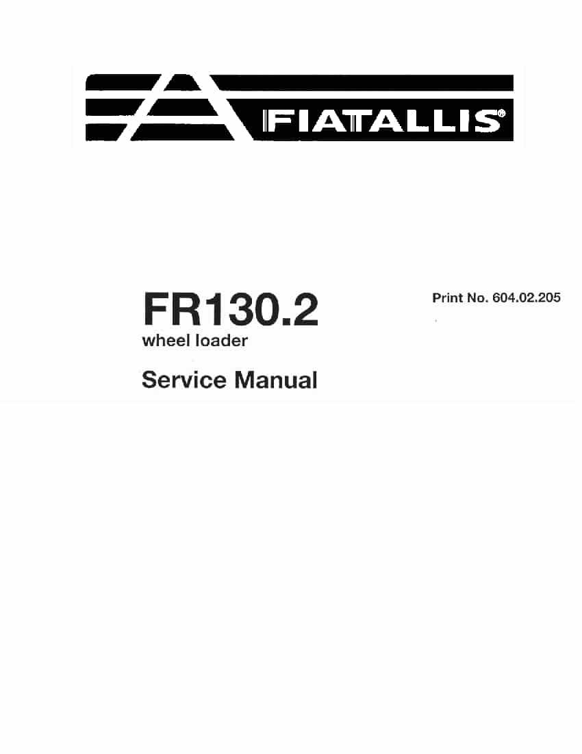 Fiat Allis FR130.2 Wheel Loader Workshop Repair Service