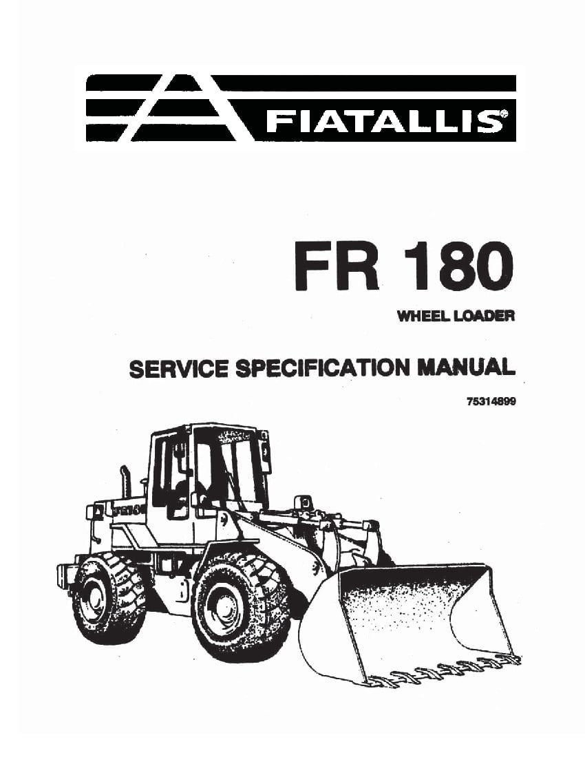 Fiat Allis FR180 Wheel Loader Specification Workshop