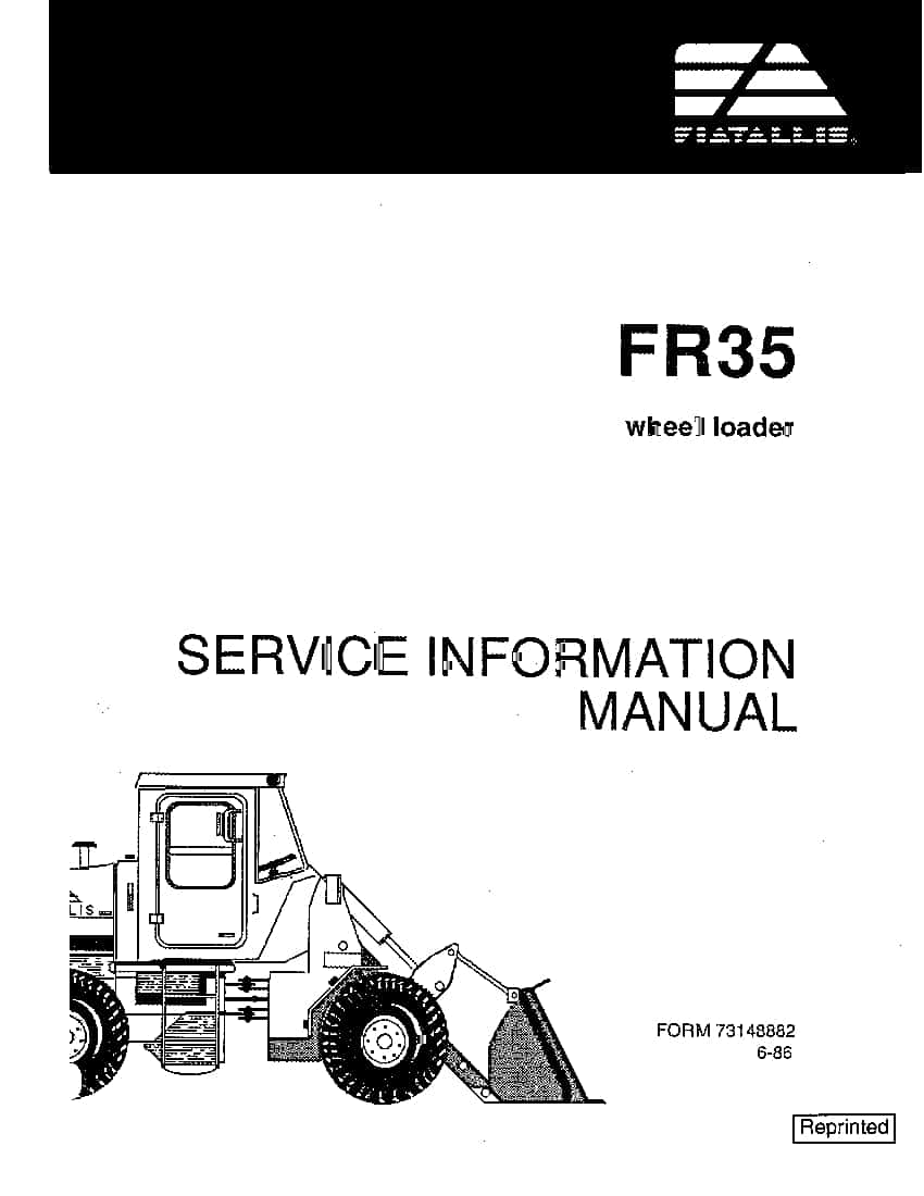 Fiat Allis FR35 Wheel Loader Workshop Repair Service