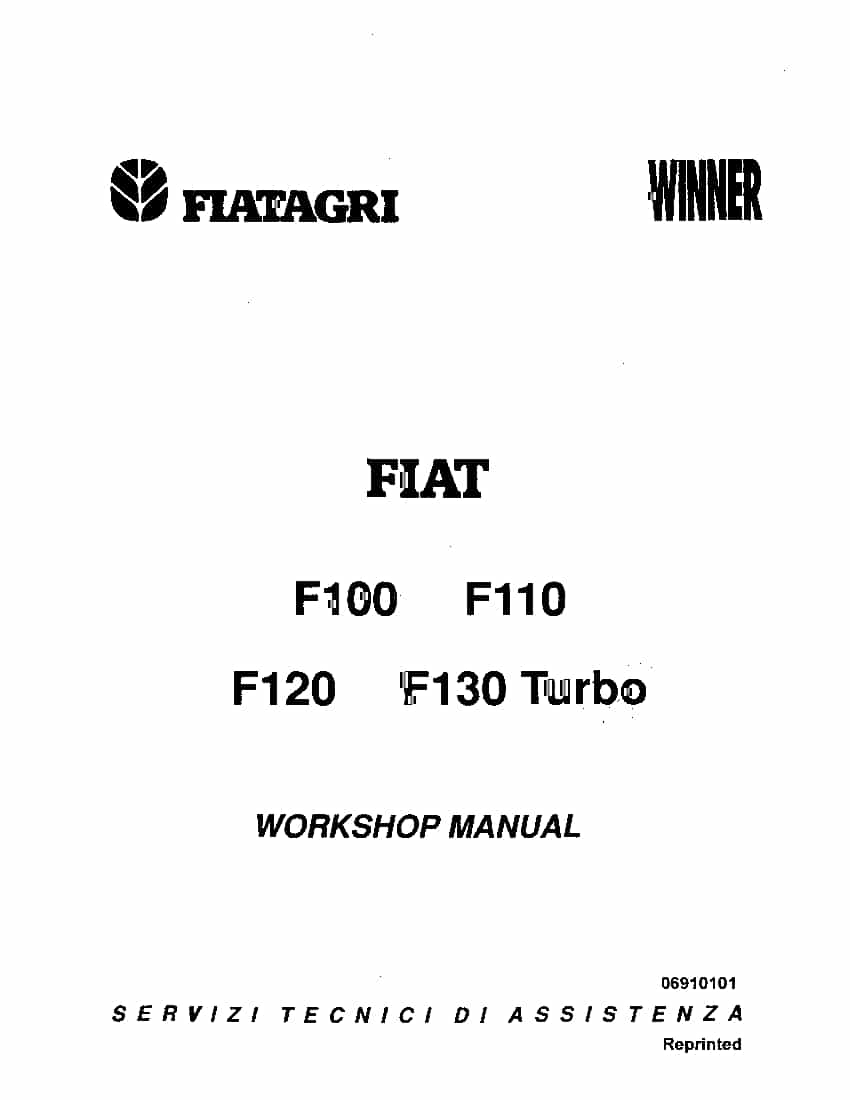 Fiat F100 F110 F120 F130 Winner F Series tractor Workshop