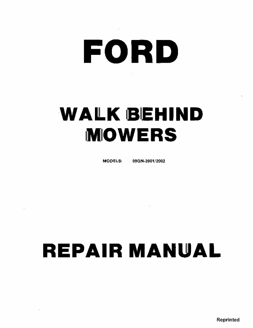 Ford 09GN 2001 2002 Walk behind Mowers Workshop Repair