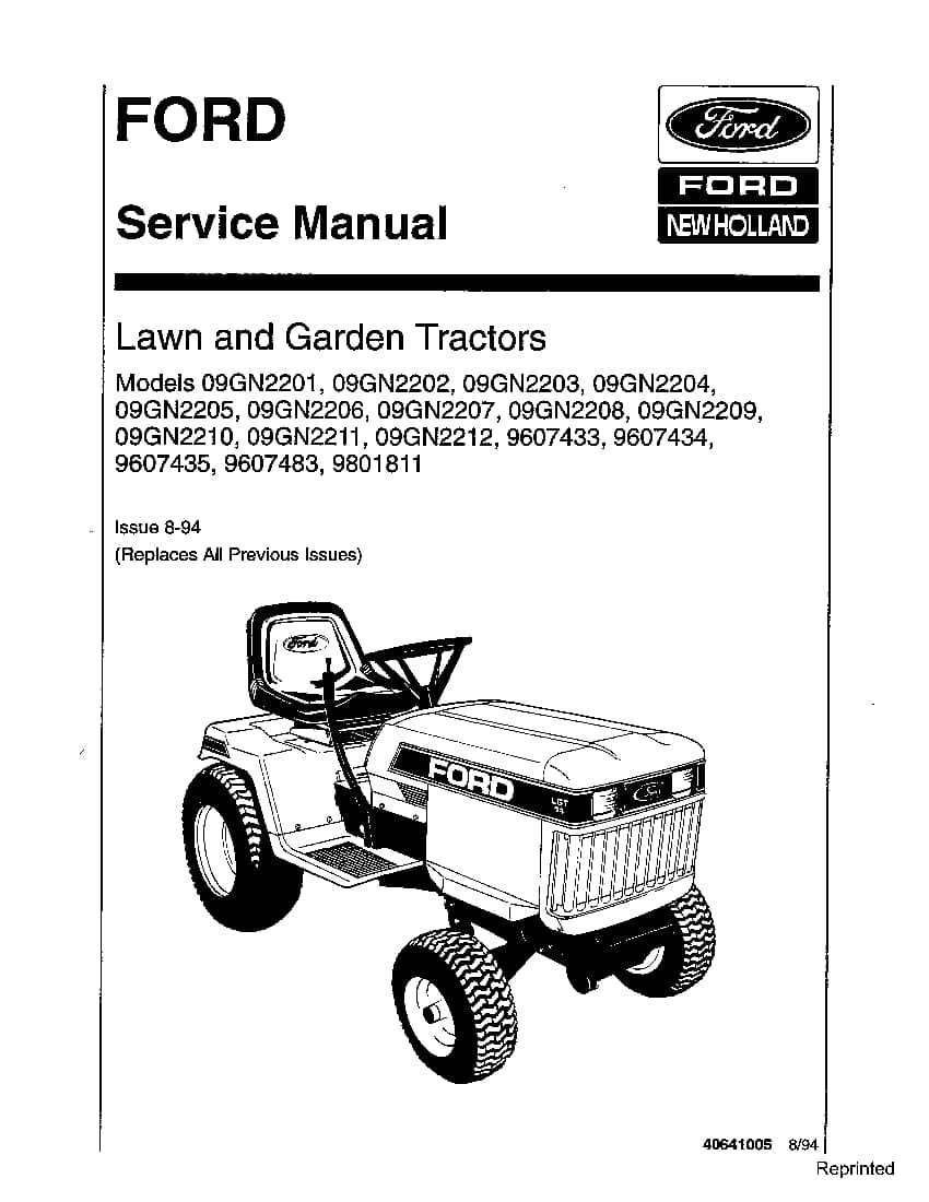 Ford 09GN22 Lawn and Garden Tractors Workshop Repair