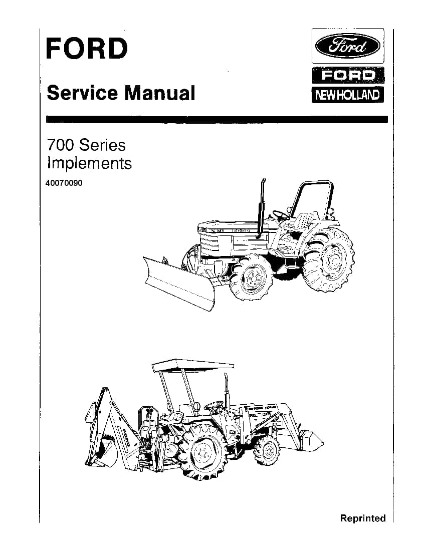 Ford 700 Series implements Tractors Workshop Repair