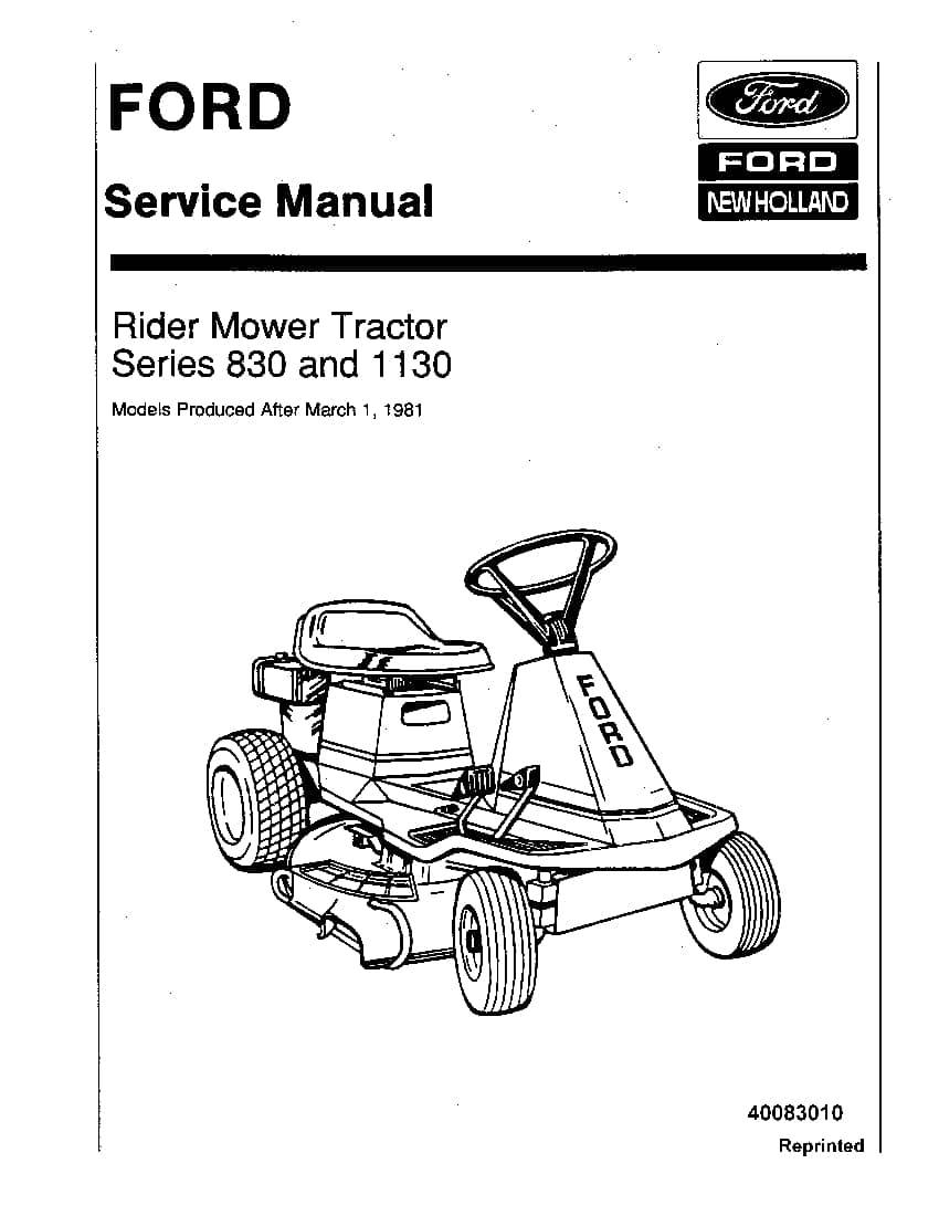 Ford 830, 1130 series Rider Mower Tractor Workshop Repair