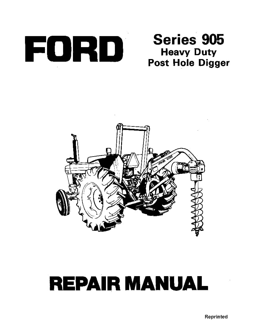 Ford 905 Series Post hole Digger Workshop Repair Service