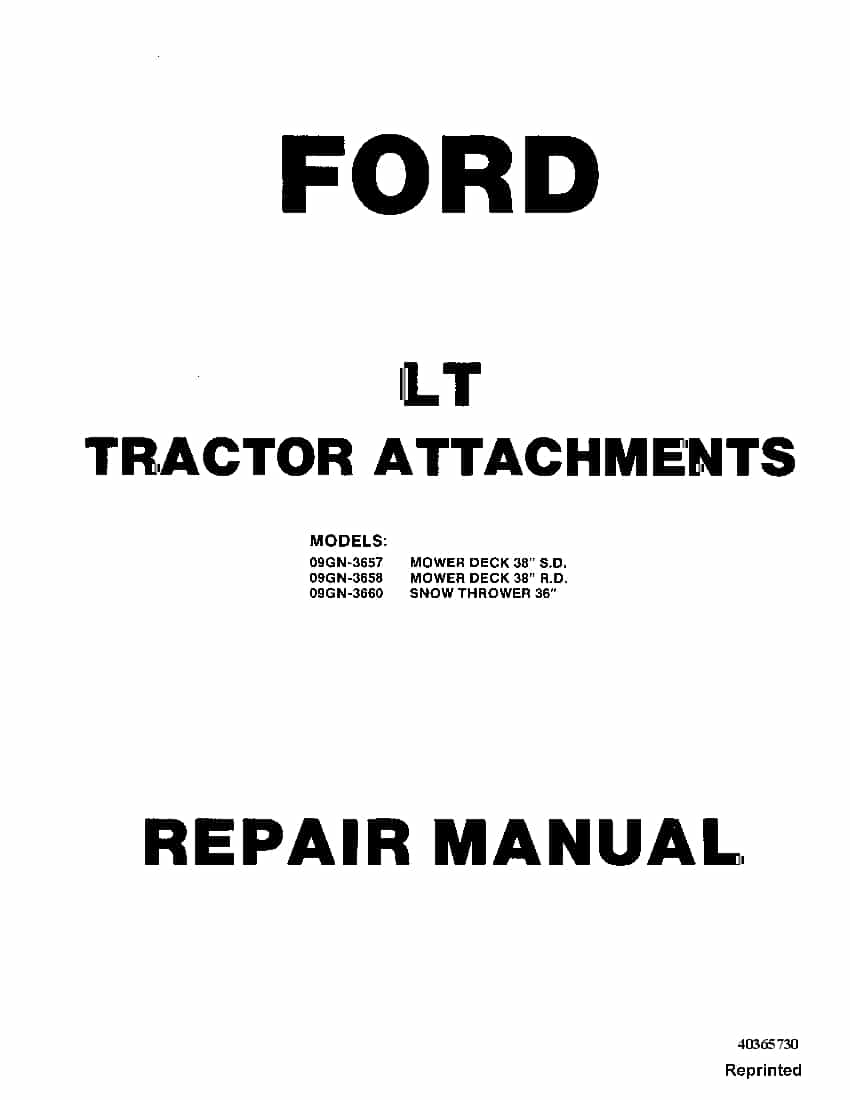 Ford LT TRactor Attachments 09GN-3657 3658 3660 Workshop