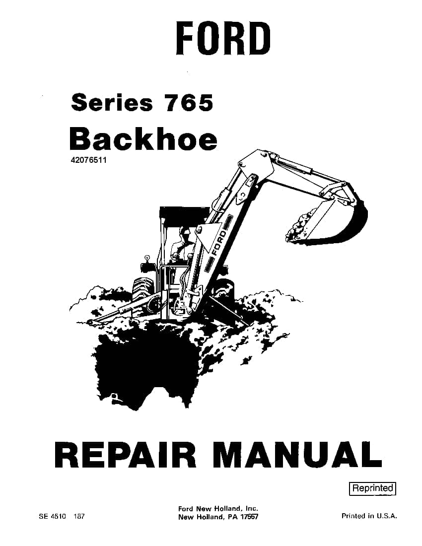 Ford series 765 Backhoe Workshop Repair Service Manual PDF