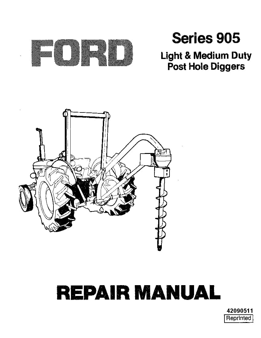Ford series 905 post hole Diggers Workshop Repair Service