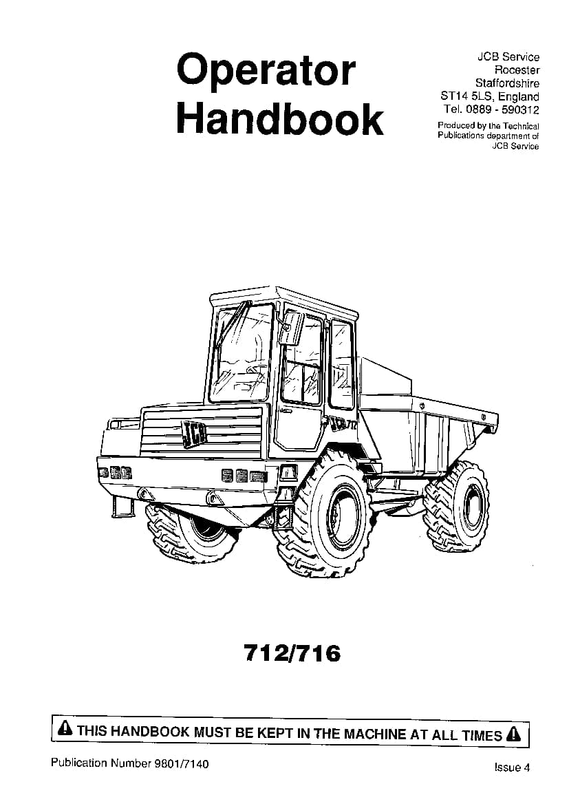 JCB 712, 716 Dump truck Operation and Maintenance Manual