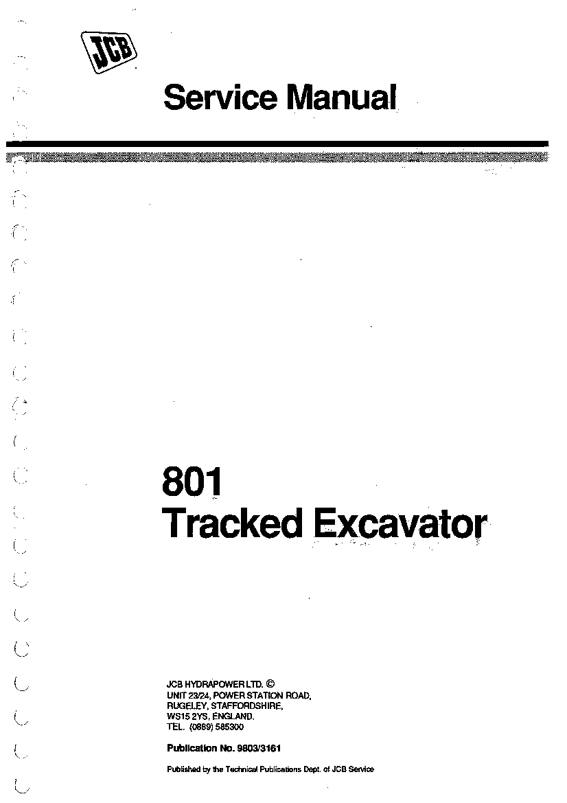 [DIAGRAM] Jcb 801 Tracked Excavator Service Repair