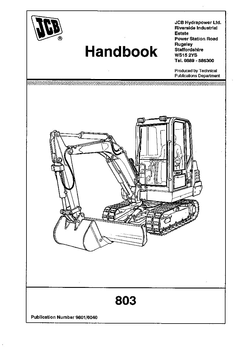 JCB 803 Loader Operation and Maintenance Manual PDF