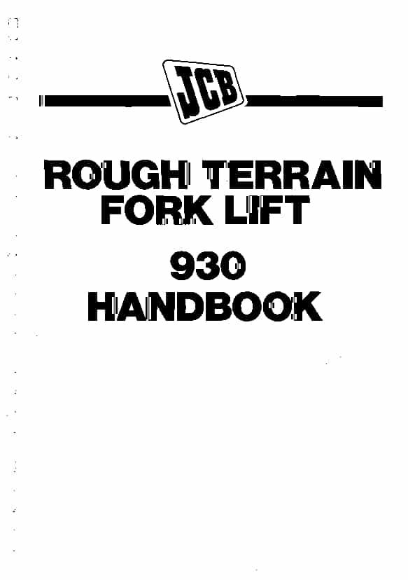 JCB 926, 930 Fork Lift Operation and Maintenance Manual