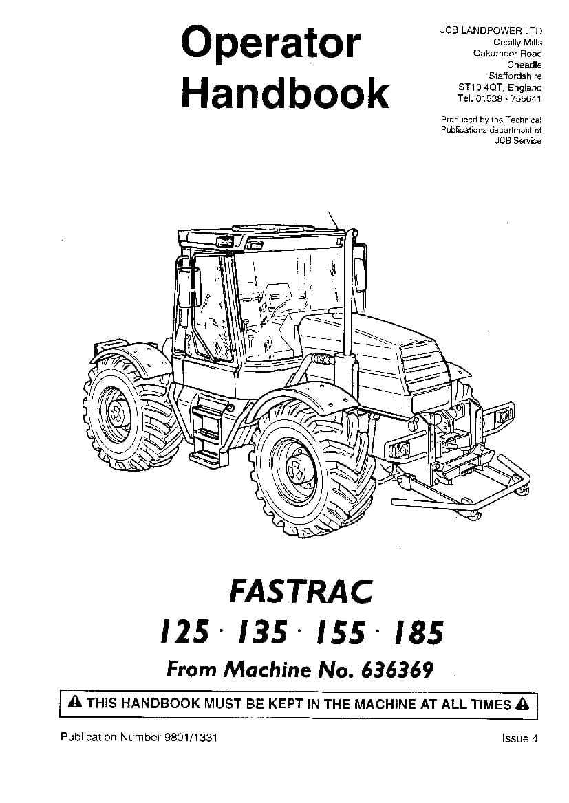 JCB Fastrac 125, 135, 150, 155, 185 Operation and