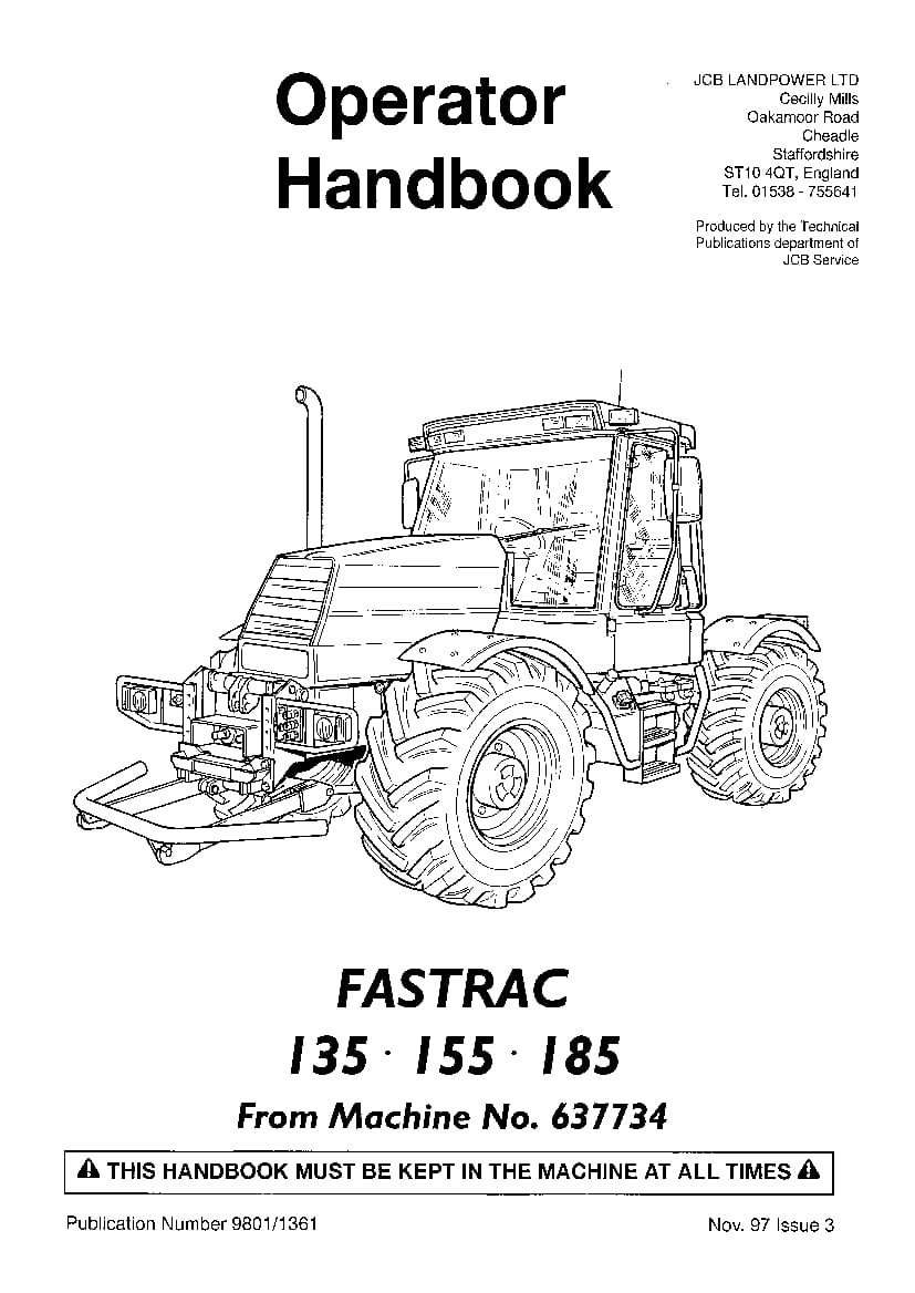 JCB Fastrac 135, 155, 185 Operation and Maintenance Manual