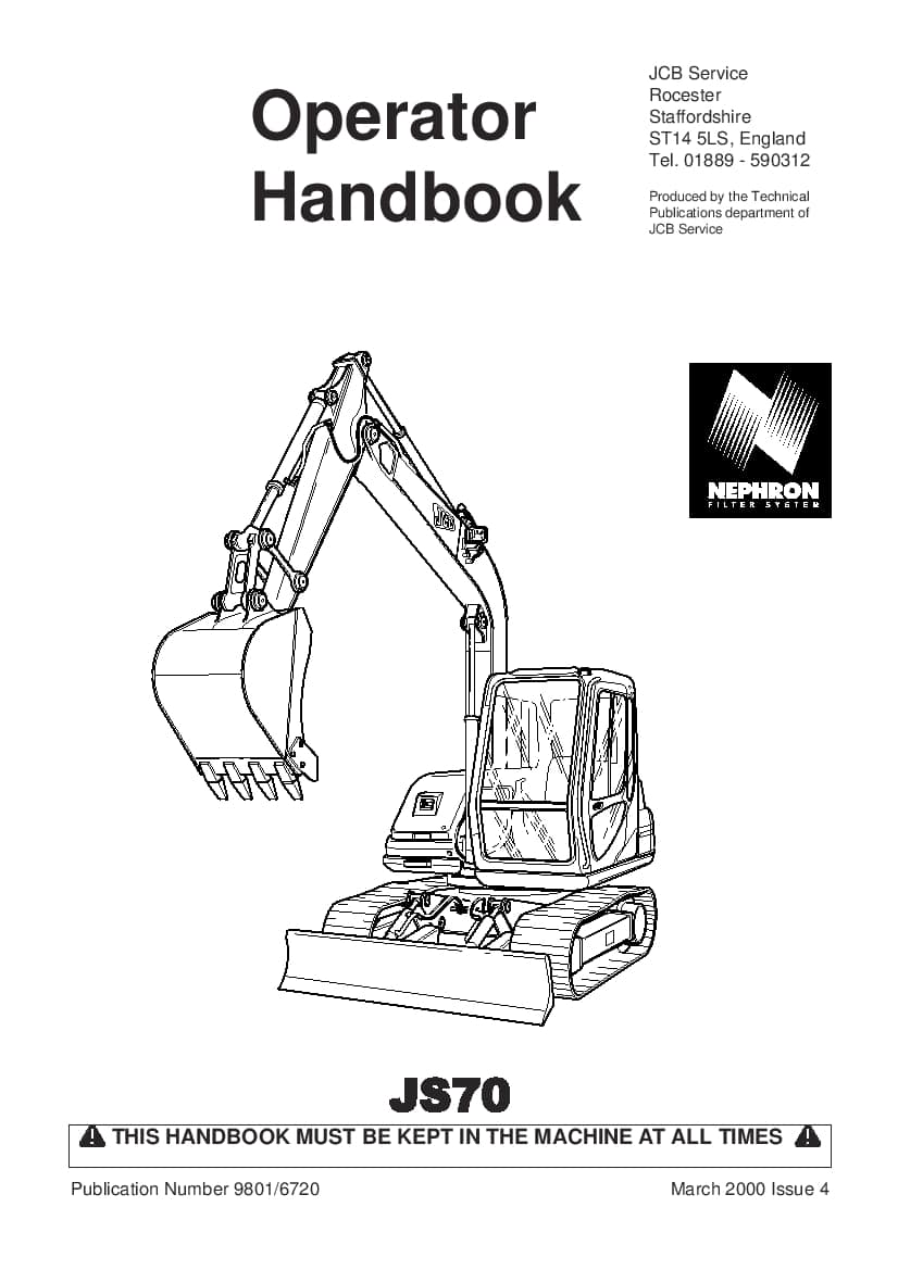 JCB JS 70 Excavator Operation and Maintenance Manual PDF