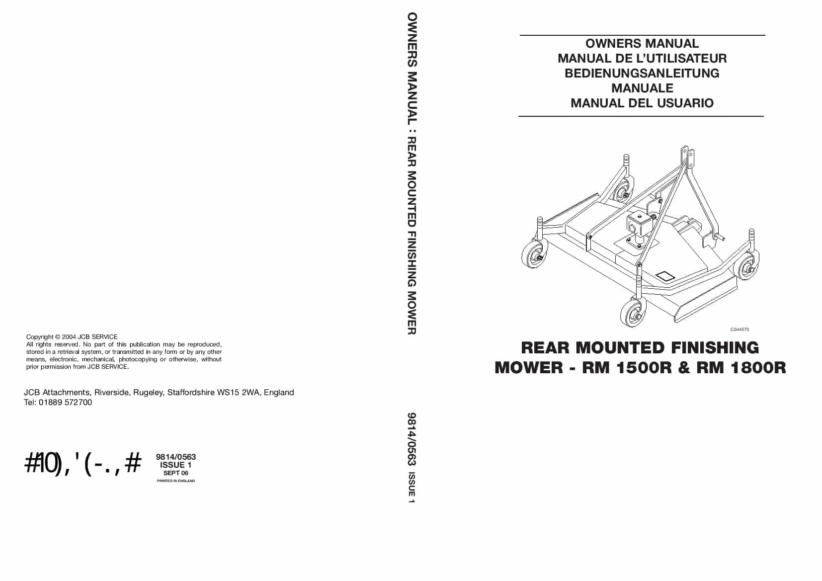 JCB MOWER RM 1500R, RM 1800R Operation and Maintenance