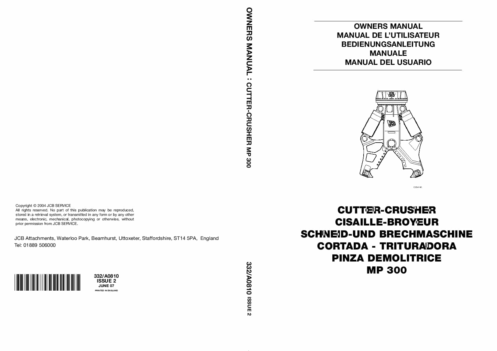 JCB MP 300 Cutler-Crusher Operation and Maintenance Manual