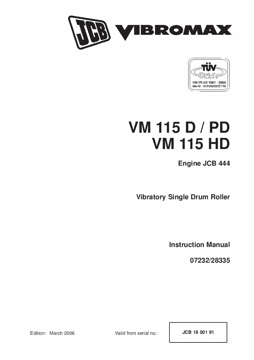 JCB VM115D PD HD Vibratory Single Drum Roller Instruction