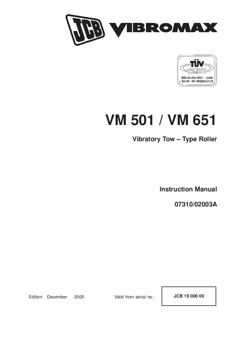 JCB VM501 VM651 Vibratory Tow Type Roller Instruction