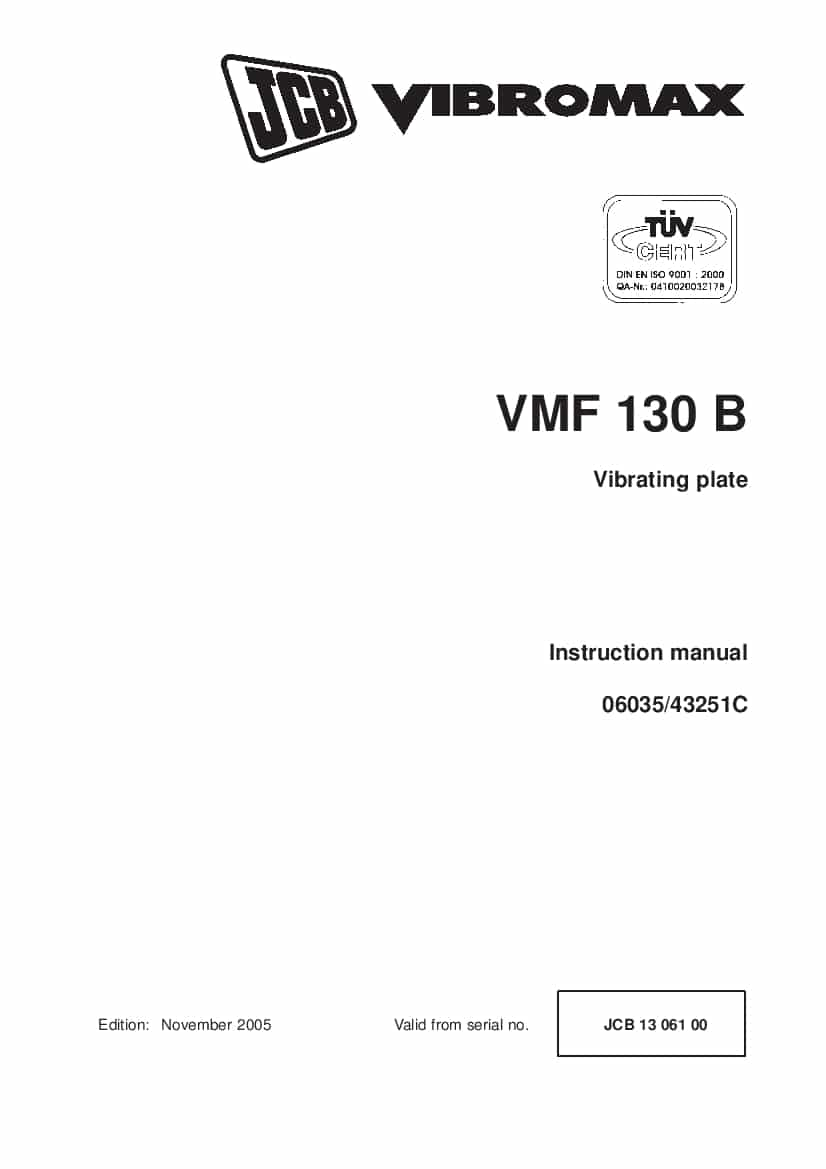 JCB VMF 130 B Vibrating plate Instruction manual PDF