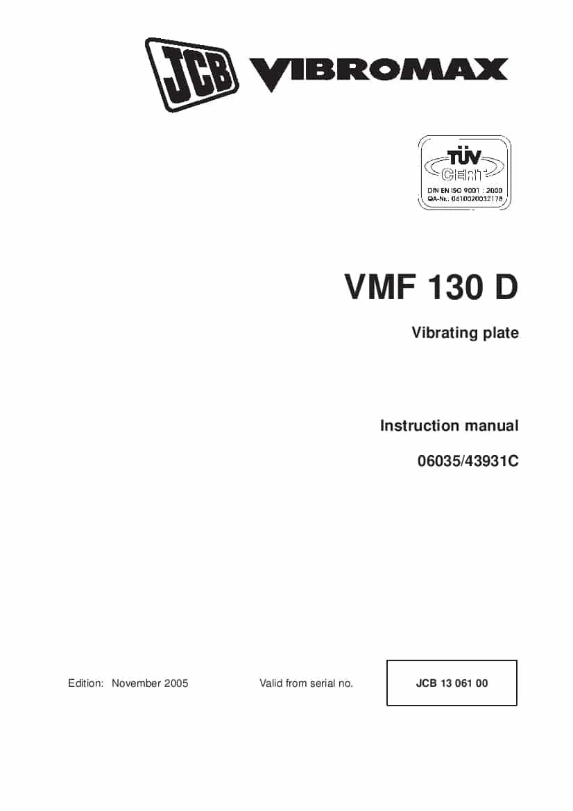 JCB VMF 130 D Vibrating plate Instruction manual PDF