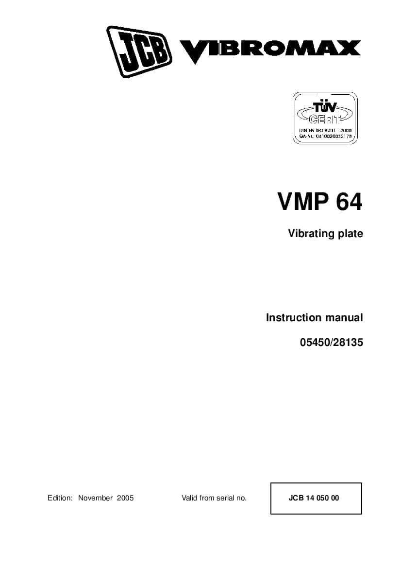 JCB VMP 64 Vibrating plate Instruction manual PDF download