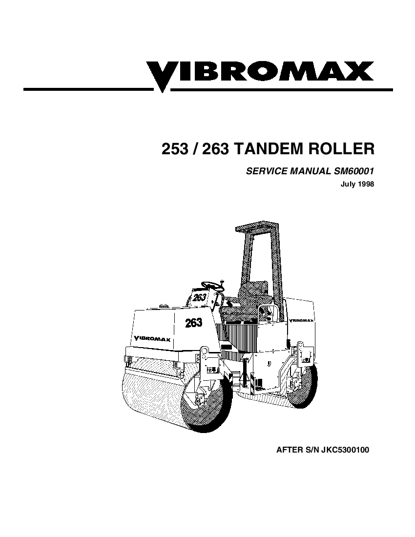 JCB Vibromax 253 263 Tandem Roller Workshop Repair Service