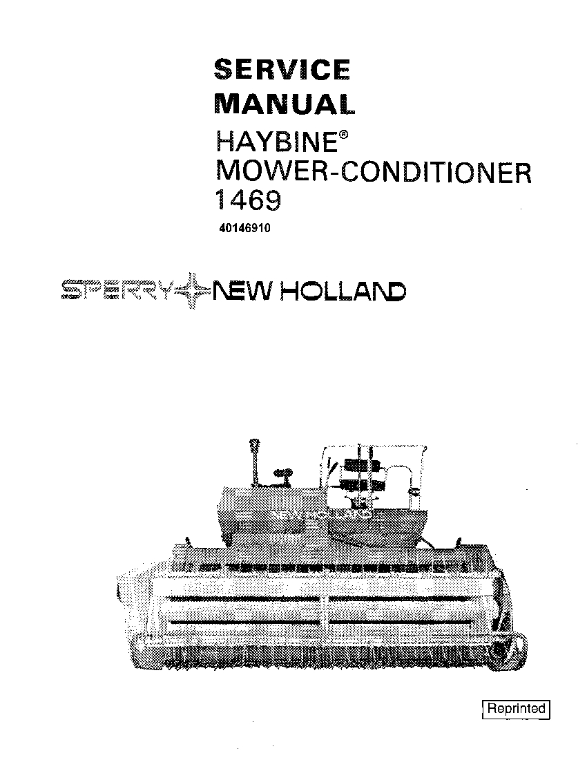 New Holland 1469 Mower conditioner Haybine Workshop Repair