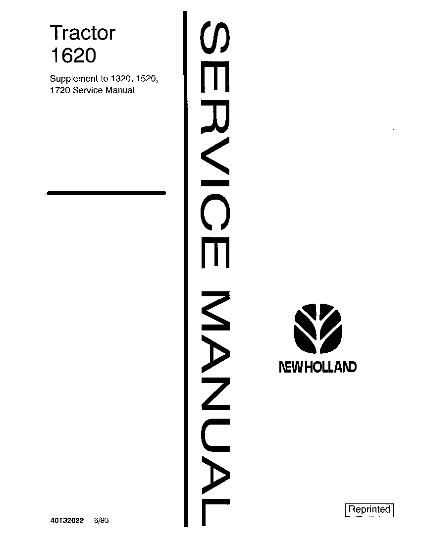 New Holland 1620 Tractors Workshop Repair Service Manual