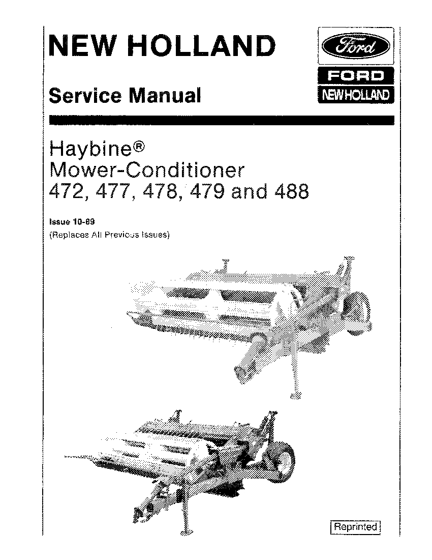 New Holland 472 477 478 479 488 Haybine Mower Conditioner