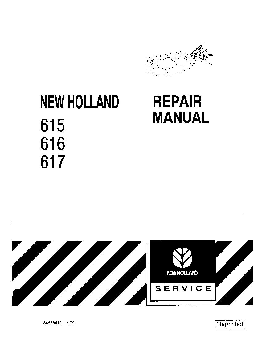 New Holland 615 616 617 disc mower Workshop Repair Service