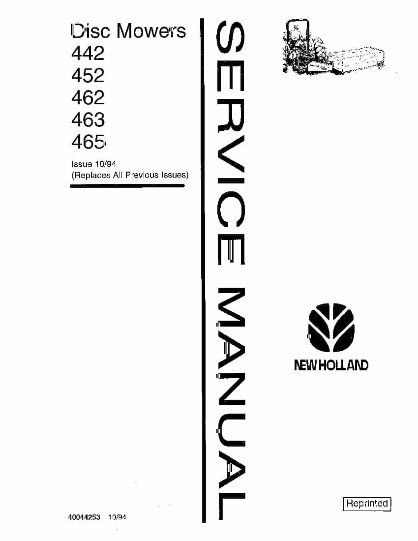 New Holland Disc Mowers 442 452 462 463 465 Workshop