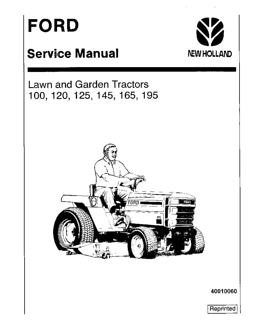 New Holland Ford 100, 120, 125, 145, 165, 195 Lawn Garden