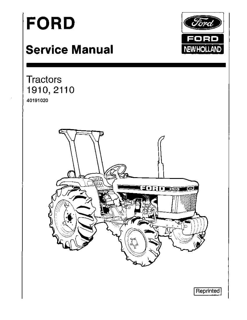 New Holland Ford 1910 2110 Tractor Workshop Repair Service