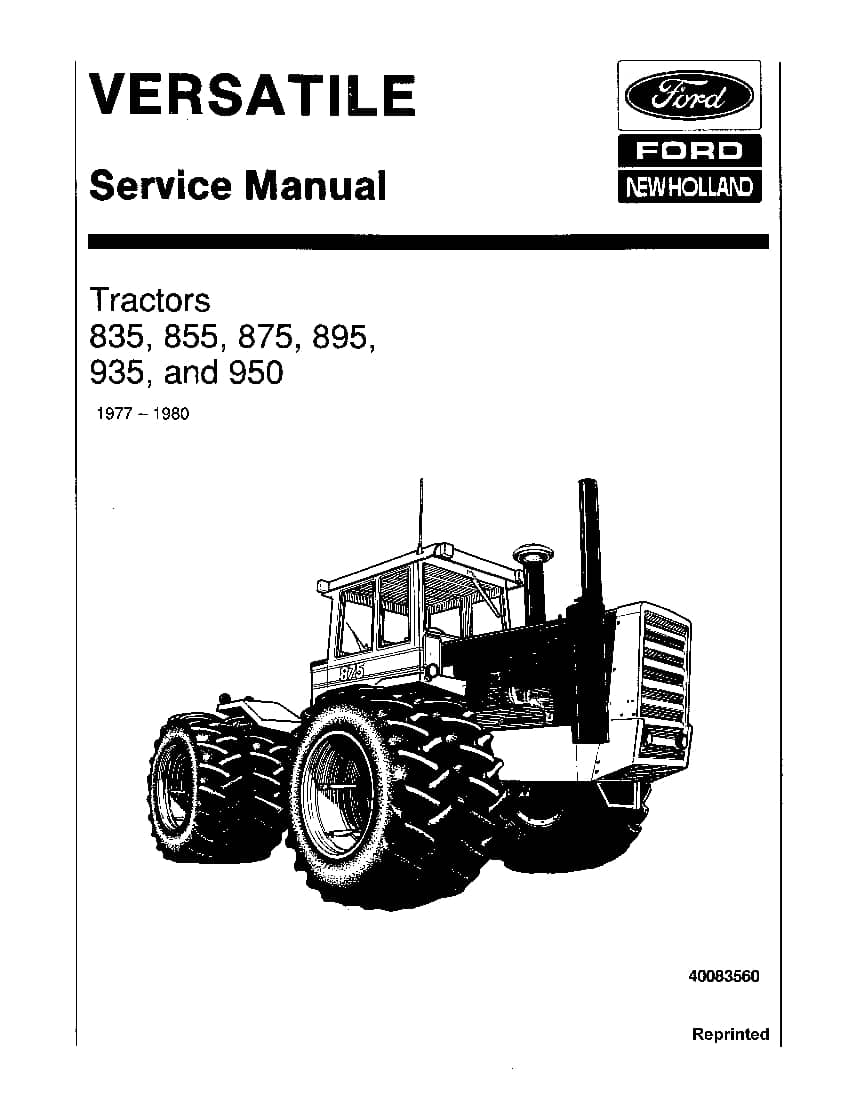 New Holland Ford 835 855 875 895 935 950 Tractors Workshop