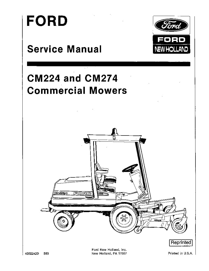 New Holland Ford CM224 CM274 Commercial Mowers Workshop