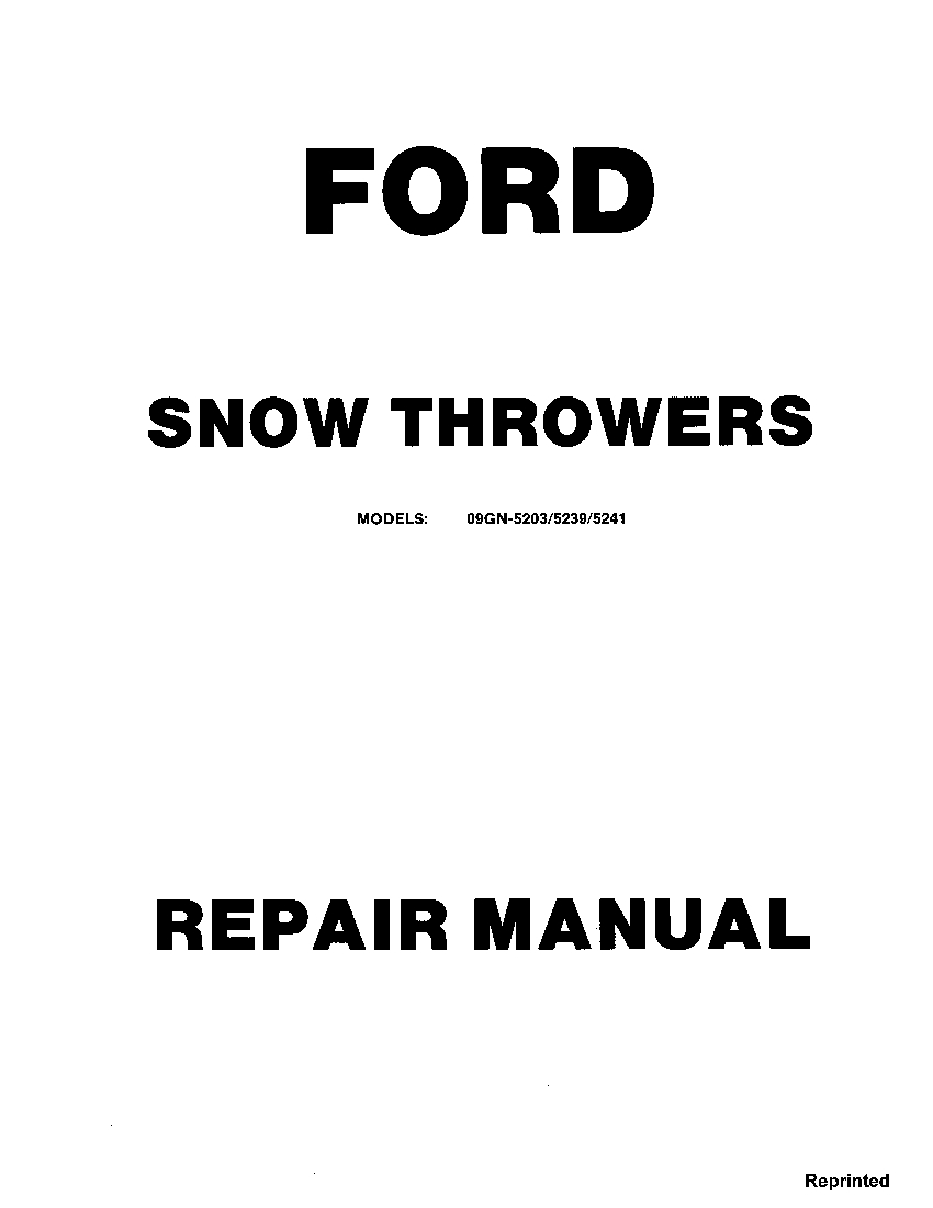 New Holland Ford Snow Throwers 09GN-5203 5239 5241