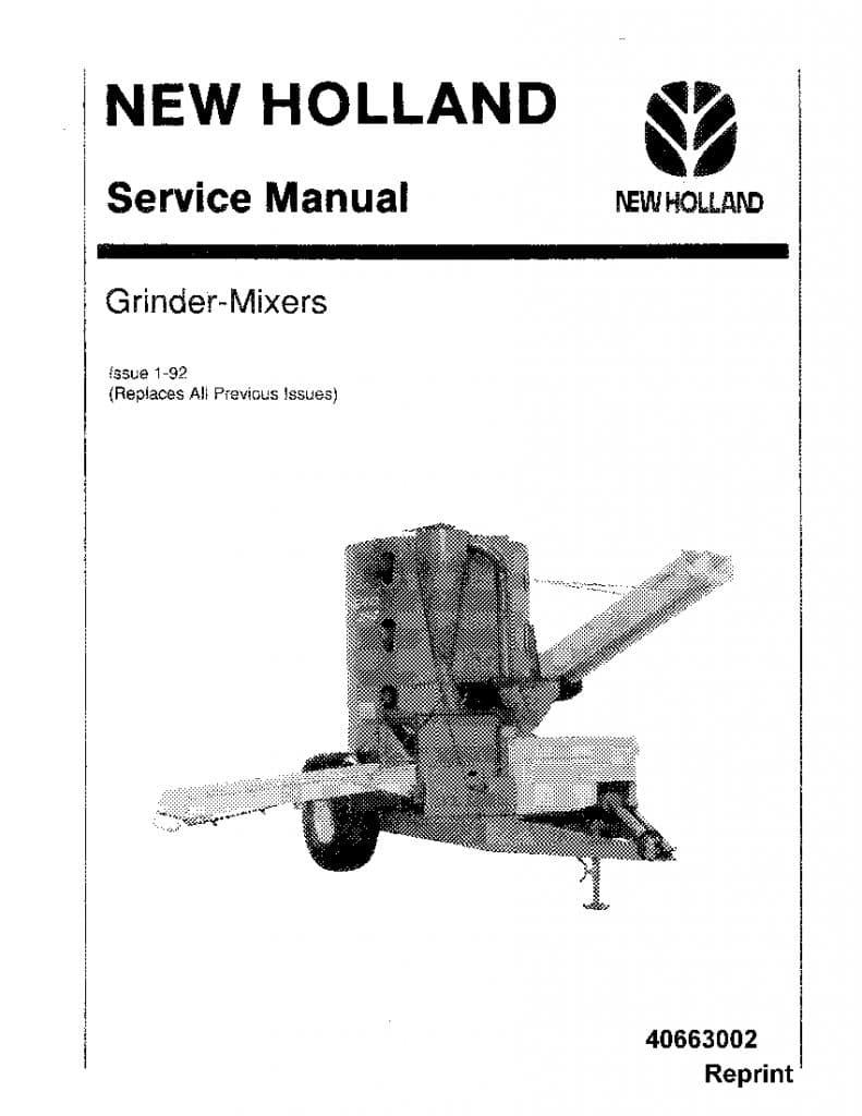 New Holland Grinder Mixers Workshop Repair Service Manual