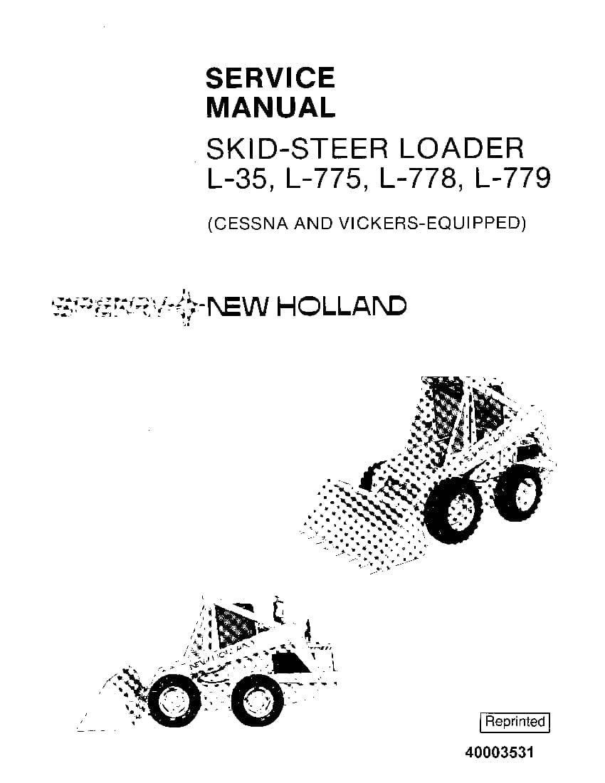 New Holland L35 L775 L778 L779 Skid Steer Loader Workshop