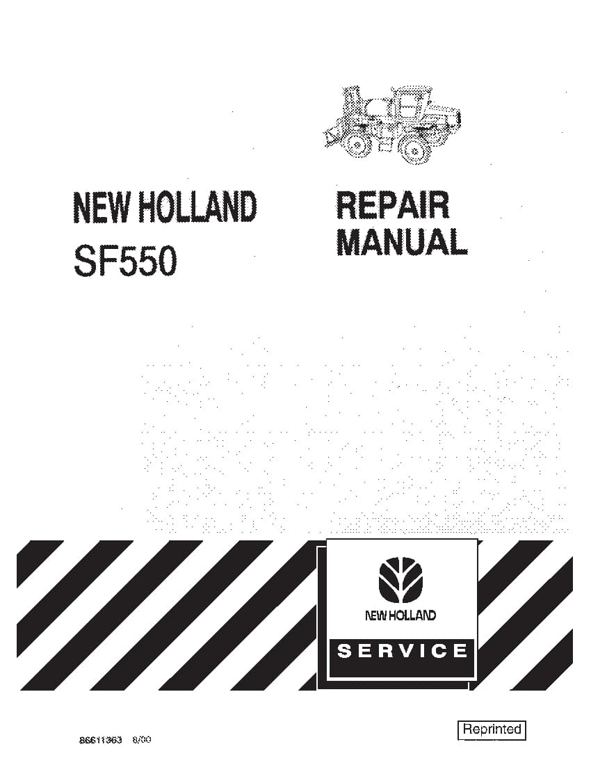 New Holland SF550 Sprayer Workshop Repair Service Manual