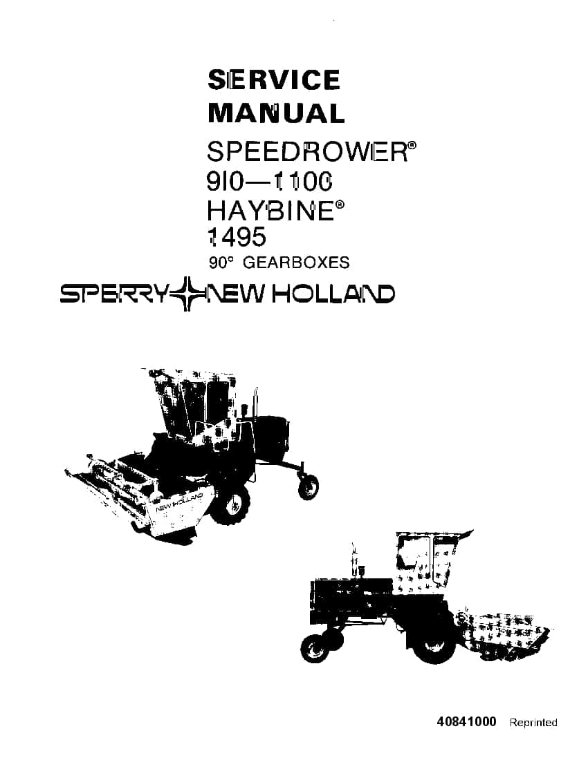 New Holland Speedrower 910 1100, Haybine 1495 90 degree
