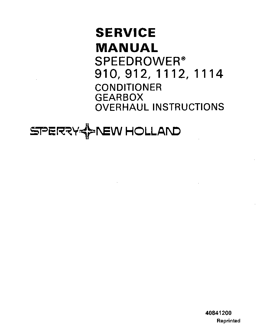 New Holland Speedrower 910, 912, 1112, 1114 Conditioner