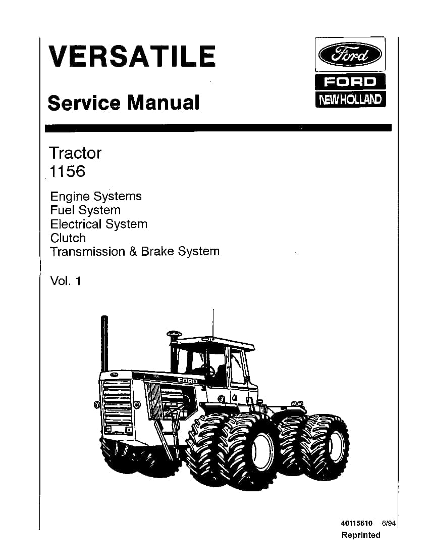 New Holland Versatile 1156 Tractor Workshop Repair Service