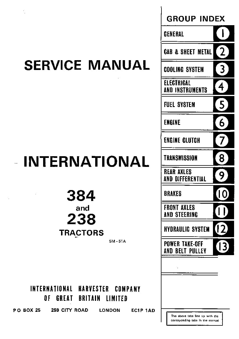 Case 384 238 International Tractors Repair Service Manual