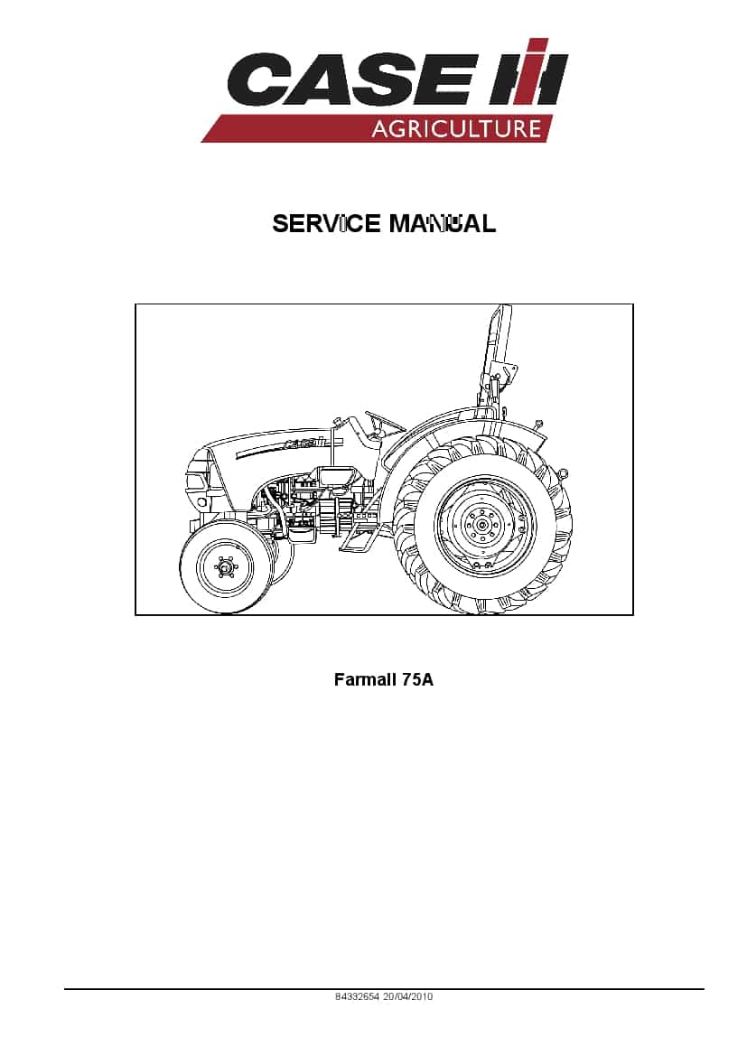 Case Farmall 75A Tractor Repair Service Manual PDF