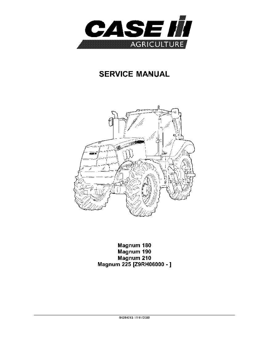 Case Magnum 180, 190, 210, 225 CVT PST Tractor Repair