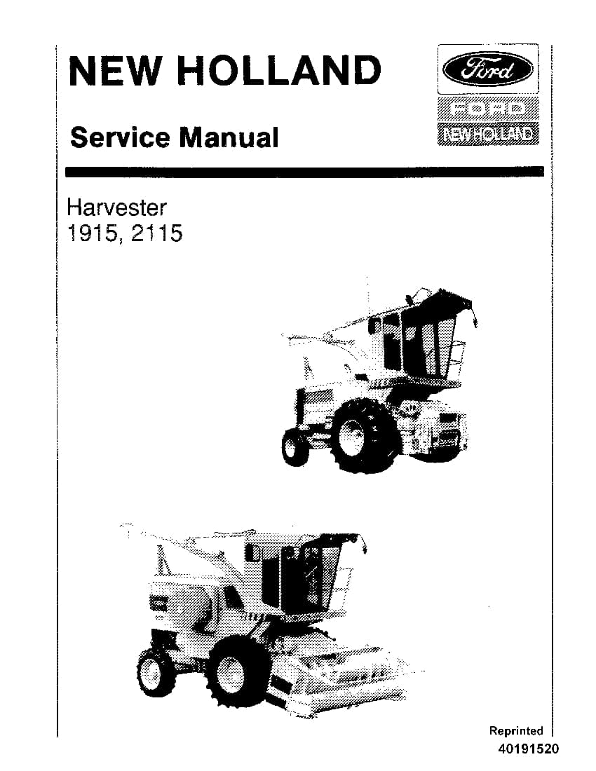 New Holland 1915, 2115 Harvester Repair Service Manual PDF