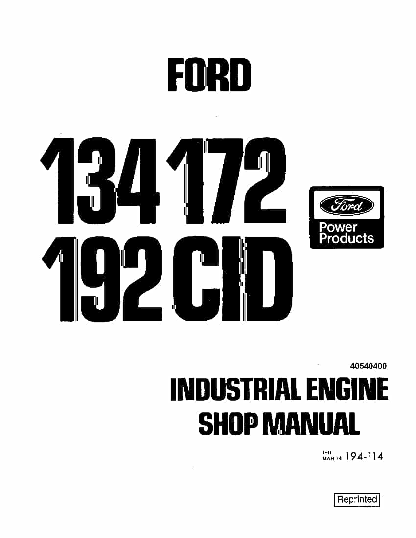New Holland Ford Engine Industrial 134 172 192 Repair