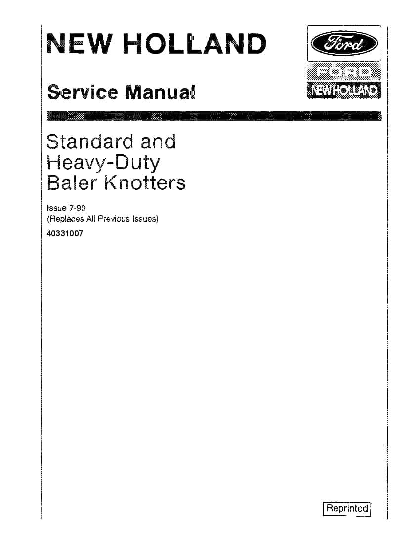New Holland Standard & heavy duty Baler Knotter Repair